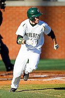 Shane Brown #1 of the Charlotte 49ers hustles down the first base line against the Missouri Tigers at Robert and Mariam Hayes Stadium on February 25, 2011 in Charlotte, North Carolina.  Photo by Brian Westerholt / Four Seam Images