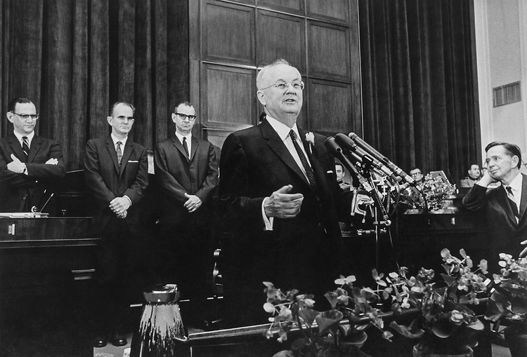 Rep. Wright Patman, D-Tex., Chairman of House Banking and Currency committee, ceremony and reception in Washington, D.C., on March 5, 1968. (Photo by CQ Roll Call)