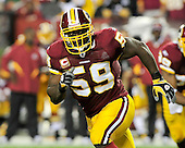 Washington Redskins linebacker London Fletcher (59) follows a first quarter play against the Dallas Cowboys at FedEx Field in Landover, Maryland on Sunday, September 12, 2010. .Credit: Ron Sachs / CNP