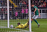 19th November 2019, Frankfurt, Germany; 2020 European Championships qualification, Germany versus Northern Ireland;  Goalkeeper Bailey Peacock-Farrell (NIrl)beaten by the shot from Leon Goretzka Germany for 2:1