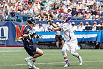 TD Ierlan (#3) passes the ball as Yale defeats UAlbany 20-11 in the NCAAA semifinal game at Gillette Stadium, May 26.