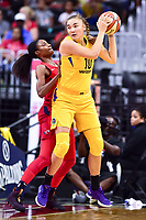 Washington, DC - August 17, 2018: Los Angeles Sparks center Maria Vadeeva (10) comes down with the rebound against Washington Mystics forward LaToya Sanders (30) during game between the Washington Mystics and Los Angeles Sparks at the Capital One Arena in Washington, DC. (Photo by Phil Peters/Media Images International)
