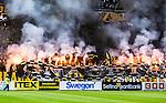 Solna 2015-10-04 Fotboll Allsvenskan AIK - Malm&ouml; FF :  <br /> AIK:s supportrar med banderoll med bengaler under matchen mellan AIK och Malm&ouml; FF <br /> (Foto: Kenta J&ouml;nsson) Nyckelord:  AIK Gnaget Friends Arena Allsvenskan Malm&ouml; MFF supporter fans publik supporters