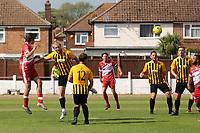 George Nikaj of Ramsgate heads the ball towards the Folkestone goal during Ramsgate vs Folkestone Invicta, Friendly Match Football at Southwood Stadium on 1st August 2020