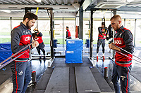 (L-R) and Oliver McBurnie exercise in the gym during the Swansea City Training and Press Conference at The Fairwood Training Ground, Swansea, Wales, UK. Thursday 25 January 2018
