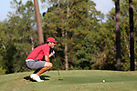 DURHAM, NC - SEPTEMBER 17: Liberty's Hutson Chandler on the tenth green. The third round of the Rod Myers Invitational Men's Golf Tournament was held on September 17, 2017, at the Duke University Golf Club in Durham, NC.