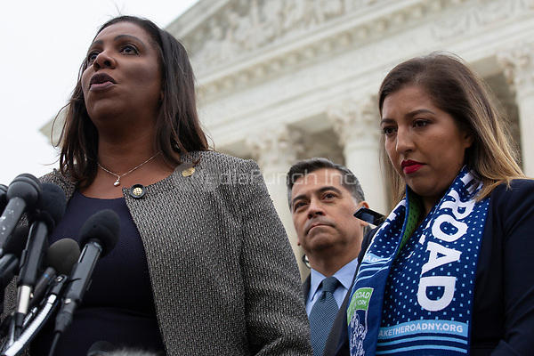New York Attorney General Letitia James speaks to the press after the Supreme Court heard arguments on the Deferred Action for Childhood Arrivals program in Washington D.C., U.S. on Tuesday, November 12, 2019.<br /> <br /> Credit: Stefani Reynolds / CNP /MediaPunch