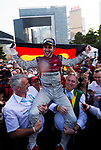 Daniel Abt of Germany from Audi Sport ABT Schaeffler celebrates with the German flag after winning FIA Formula E Hong Kong E-Prix Round 2 at the Central Harbourfront Circuit on 03 December 2017 in Hong Kong, Hong Kong. Photo by Marcio Rodrigo Machado / Power Sport Images