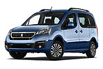 Stock pictures of low aggressive front three quarter view of a 2018 Peugeot Partner Tepee Electric Allure 5 Door Mini Van