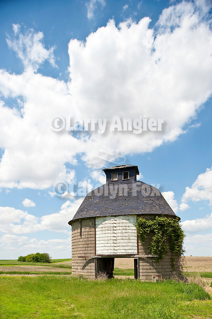 Masonry round corn crib at abandoned farm in eastern Iowa