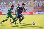Tomiyasu Takehiro of Japan (R) fights for the ball with Batyrov Gurbangeldi of Turkmenistan (L) during the AFC Asian Cup UAE 2019 Group F match between Japan (JPN) and Turkmenistan (TKM) at Al Nahyan Stadium on 09 January 2019 in Abu Dhabi, United Arab Emirates. Photo by Marcio Rodrigo Machado / Power Sport Images