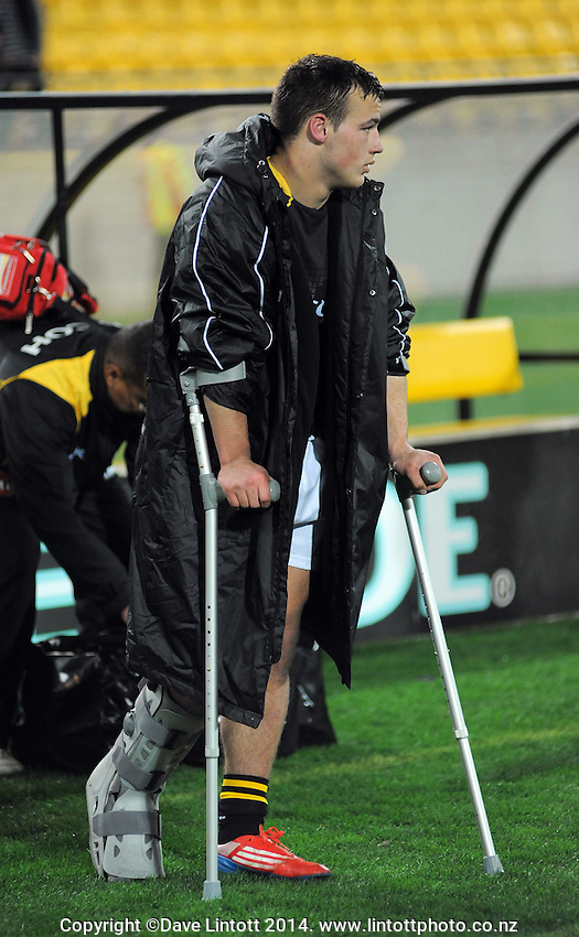 The injured Wes Goosen on crutches after the ITM Cup rugby union match between Wellington Lions and Waikato at Westpac Stadium, Wellington, New Zealand on Saturday, 16 August 2014. Photo: Dave Lintott / lintottphoto.co.nz