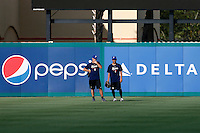 18 September 2012: France Thomas Langloys and Thomas Meley are seen during Team France practice, at the 2012 World Baseball Classic Qualifier round, in Jupiter, Florida, USA.