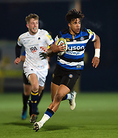 Anthony Watson of Bath Rugby goes on the attack. Aviva Premiership match, between Worcester Warriors and Bath Rugby on January 5, 2018 at Sixways Stadium in Worcester, England. Photo by: Patrick Khachfe / Onside Images