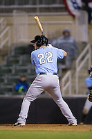 Chuck Moorman (22) of the Hickory Crawdads at bat against the Kannapolis Intimidators at Kannapolis Intimidators Stadium on April 9, 2016 in Kannapolis, North Carolina.  The Crawdads defeated the Intimidators 6-1 in 10 innings.  (Brian Westerholt/Four Seam Images)
