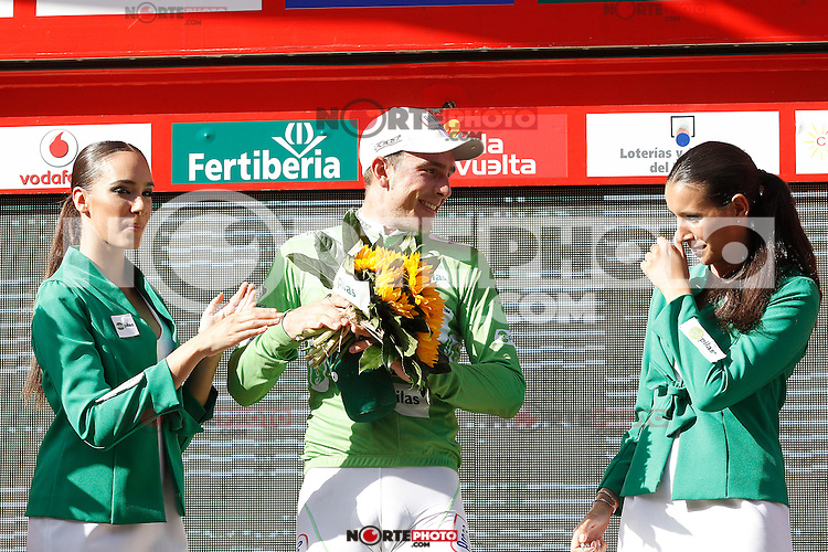 John Degenkolb with the leader's of Points Clasification green jersey after the stage of La Vuelta 2012 between Logroño and Logroño.August 22,2012. (ALTERPHOTOS/Acero) /NortePhoto.com<br />