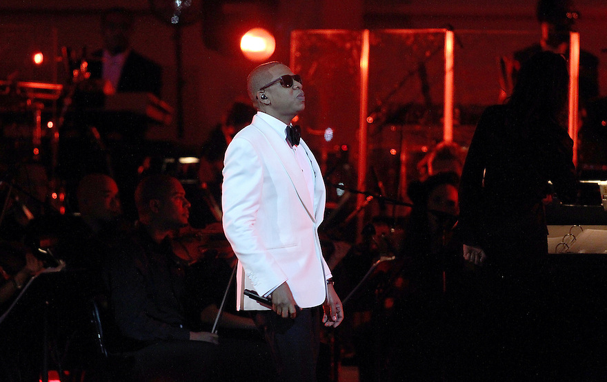 """Rapper Shawn """" Jay-Z"""" Carter is seen performing on stage at the Jay-Z at Carnegie Hall performance at Carnegie Hall in New York City on Feb. 06, 2012. (AP Photo/ Donald Traill)"""