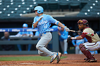 Cody Roberts (11) of the North Carolina Tar Heels follows through on his swing against the Boston College Eagles in Game Five of the 2017 ACC Baseball Championship at Louisville Slugger Field on May 25, 2017 in Louisville, Kentucky. The Tar Heels defeated the Eagles 10-0 in a game called after 7 innings by the Mercy Rule. (Brian Westerholt/Four Seam Images)