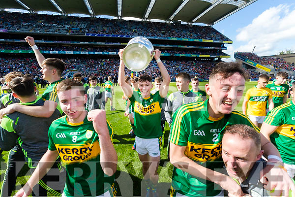 Cian Gammell Kerry Minors celebrate with the Tom Markham Cup after defeating Derry in the All-Ireland Minor Footballl Final in Croke Park on Sunday.