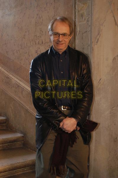 KEN LOACH.3 December 2003.black leather jacket, half length, half-length.www.capitalpictures.com.sales@capitalpictures.com.© Capital Pictures