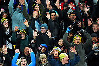 A Mexican Wave does the rounds during the Super Rugby match between the Hurricanes and Crusaders at Westpac Stadium in Wellington, New Zealand on Saturday, 15 July 2017. Photo: Dave Lintott / lintottphoto.co.nz