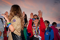 Swiss scouts having party in the audience. Photo: André Jörg/ Scouterna