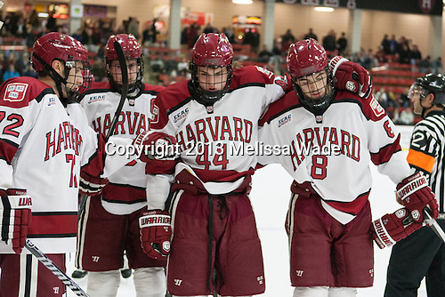 Phil Zielonka (Harvard - 72), Dan Ford (Harvard - 5), Max Everson (Harvard - 44), Patrick McNally (Harvard - 8) - The visiting Boston College Eagles defeated the Harvard University Crimson 5-1 on Wednesday, November 20, 2013, at Bright-Landry Hockey Center in Cambridge, Massachusetts.