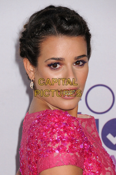 Lea Michele.People's Choice Awards 2013 - Arrivals held at Nokia Theatre L.A. Live, Los Angeles, California, USA..January 9th, 2013.headshot portrait hair up braid plait pink lace sequins sequined beads beaded side mouth open.CAP/ADM/BP.©Byron Purvis/AdMedia/Capital Pictures.