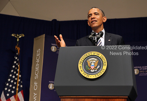 United States President Barack Obama speaks at the National Academy of Sciences 150th Anniversary event in Washington, Monday, April 29, 2013.<br /> Credit: Martin Simon / Pool via CNP