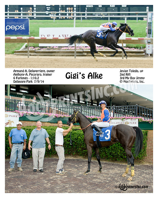 Gigi's Alke winning at Delaware Park on 7/9/14