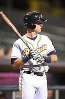 Montgomery Biscuits third baseman Richie Shaffer (12) on deck during a game against the Mississippi Braves on April 21, 2014 at Riverwalk Stadium in Montgomery, Alabama.  Montgomery defeated Mississippi 6-2.  (Mike Janes/Four Seam Images)
