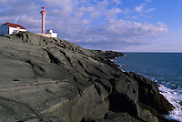 Cape Forchu Lightstation (built 1962) near Yarmouth, NS, Nova Scotia, Canada - Lighthouse / Light House on Volcanic Rock Coastline (Headland) - Yarmouth & Acadian Shores Region