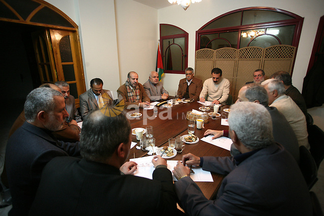 Leaders of four Palestinian Platoons, Hamas Movement, Jihad Islamic Movement, the Popular Front for Liberation Palestine and the Democratic Front for Liberation Palestine during a meeting in Gaza City on Jan 24,2010. Photo by Mohammed Othman