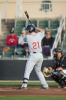 Nick Longhi (21) of the Greenville Drive at bat against the Kannapolis Intimidators at CMC-Northeast Stadium on April 28, 2015 in Kannapolis, North Carolina.  The Intimidators defeated the drive 3-2.  (Brian Westerholt/Four Seam Images)