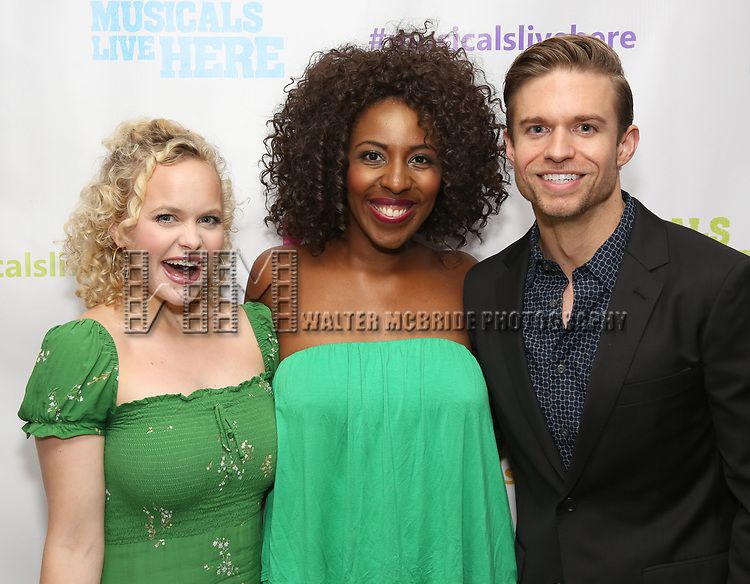 """Amanda Jane Cooper, Daisy Hobbs and Hunter Ryan Herdlicka backstage at the New York Musical Festival production of  """"Alive! The Zombie Musical"""" at the Alice Griffin Jewel Box Theatre on July 29, 2019 in New York City."""