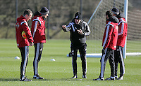 Pictured: Johnny Northeast, Dave Adams, Francesco Guidolin, Gabriele Ambrosetti and Diego Bortoluzzi Wednesday 10 February 2016<br />Re: Swansea City FC training at the club's Fairwood Training Ground in the outskirts of Swansea, south Wales, UK.
