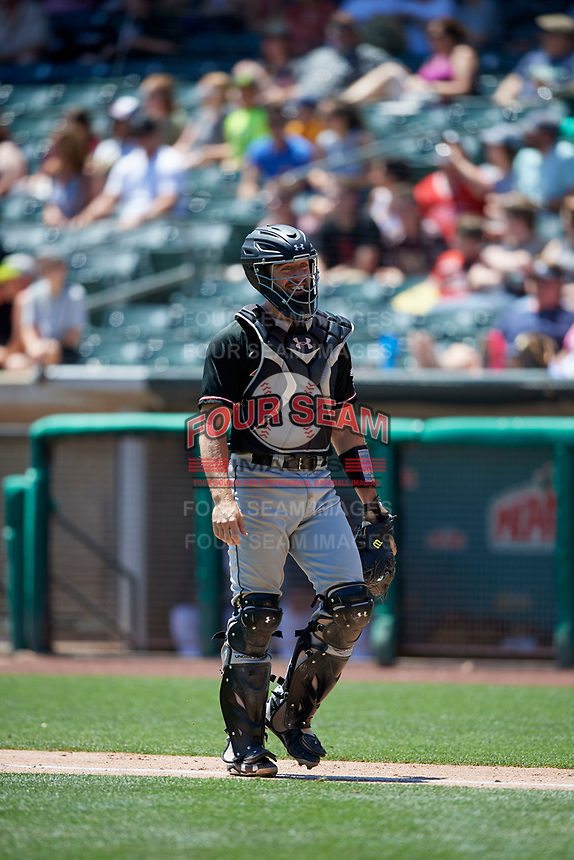 Tom Murphy (23) of the Albuquerque Isotopes during the game against the Salt Lake Bees in Pacific Coast League action at Smith's Ballpark on June 11, 2017 in Salt Lake City, Utah. The Bees defeated the Isotopes 6-5. (Stephen Smith/Four Seam Images)