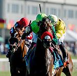 September 7, 2019 : Ms Bad Behavior #9, ridden by Jose Ortiz, wins the Three Chimneys Ladies Turf during racing at Kentucky Downs in Franklin, Kentucky. Scott Serio/Eclipse Sportswire/CSM