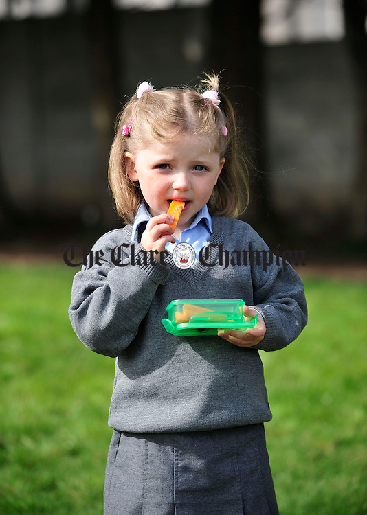 A healthy snack for lunch at Scariff National School. Photograph by Declan Monaghan