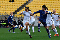 Ferns&rsquo;Sarah Morton and Japan&rsquo;s Hikari Takagi  in action during the  International Football - Football Ferns v Japan  at Westpac Stadium, Wellington, New Zealand on Sunday 10 June 2018.<br /> Photo by Masanori Udagawa. <br /> www.photowellington.photoshelter.com