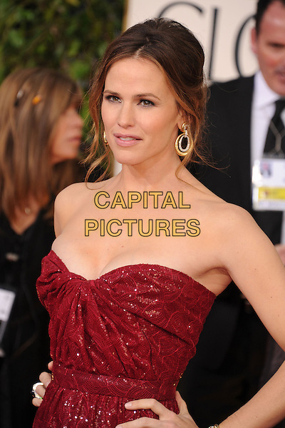 Jennifer Garner.Arrivals at the 70th Annual Golden Globe Awards held at the Beverly Hilton Hotel, Hollywood, California, USA..January 13th, 2013.globes half length red strapless dress gold beads beaded hand on hip.CAP/GAG.©GAG/Capital Pictures