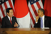 United States President Barack Obama, right, listens as Prime Minister Yoshihiko Noda of Japan, left, makes remarks prior to their meeting Wednesday, September 21, 2011 at United Nations Headquarters in New York, New York..Credit: Aaron Showalter / Pool via CNP