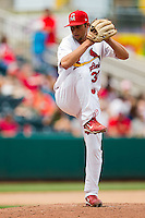 Nick Greenwood (32) of the Springfield Cardinals delivers a pitch during a game against the Tulsa Drillers at Hammons Field on June 27, 2011 in Springfield, Missouri. (David Welker / Four Seam Images)