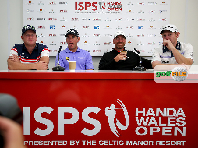 The Ryder Cup quartet of Jamie Donaldson (WAL), Lee Westwood (ENG), Thomas Bjorn (DEN) and Stephen Gallacher (SCO) get settled in for the Media Interviews ahead of the ISPS Handa Wales Open 2014 from the Celtic Manor Resort, Newport, South Wales. Picture:  David Lloyd / www.golffile.ie