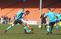 Blackpool's Nathan Delfouneso gets a shot on goal<br /> <br /> Photographer Mick Walker/CameraSport<br /> <br /> The EFL Sky Bet League One - Blackpool v Fleetwood Town - Saturday 14th April 2018 - Bloomfield Road - Blackpool<br /> <br /> World Copyright &copy; 2018 CameraSport. All rights reserved. 43 Linden Ave. Countesthorpe. Leicester. England. LE8 5PG - Tel: +44 (0) 116 277 4147 - admin@camerasport.com - www.camerasport.com