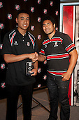 Under 18 Player of the year Jimmy Tupou with Steeler Fritz Lee. Counties Manukau Representative Teams prize givung held at Bayer Growers Stadium on Thursday October 28th 2010.