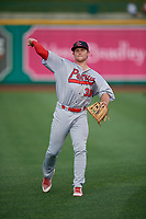 Peoria Chiefs Brendan Donovan (33) during warmups before a Midwest League game against the Fort Wayne TinCaps on July 17, 2019 at Parkview Field in Fort Wayne, Indiana.  Fort Wayne defeated Peoria 6-2.  (Mike Janes/Four Seam Images)