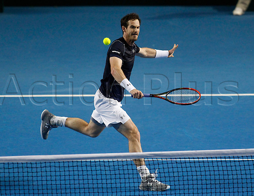 06.03.2016. Barclaycard Arena, Birmingham, England. Davis Cup Tennis World Group First Round. Great Britain versus Japan. Andy Murray volleys against Kei Nishikori.