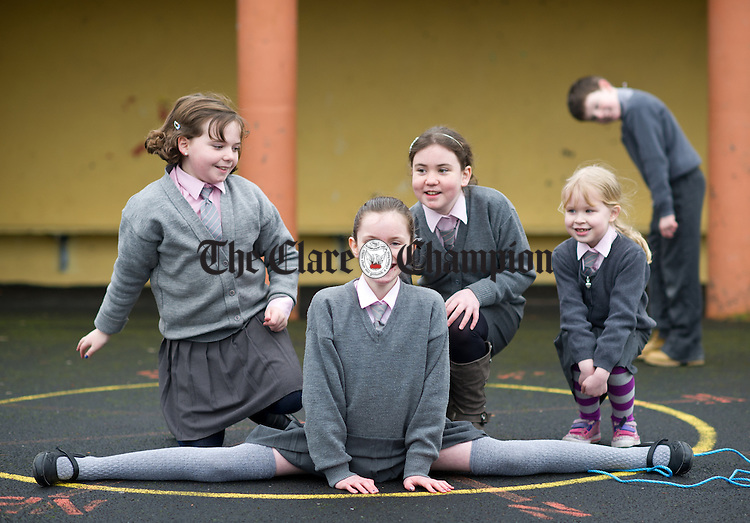The only four girls in the school; Aoife Ni Ghormain, Micheala Moriarty, Sally Talty Farrell and  Molly Painter  at Clondrinagh National School which is celebrating its 50th anniversary this year. Photograph by John Kelly.