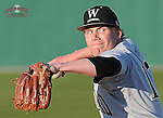 Pitcher Tanner Hawley (17) of the Wofford Terriers in a game against the USC Upstate Spartans on Wednesday, March 27, 2013, at Cleveland S. Harley Park in Spartanburg, South Carolina. Wofford won, 12-11.(Tom Priddy/Four Seam Images)